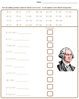 President's Day, George Washington, Worksheets, Morning Work, Recipe