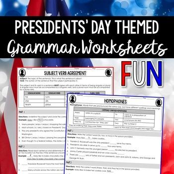 Presidents' Day Grammar Worksheets