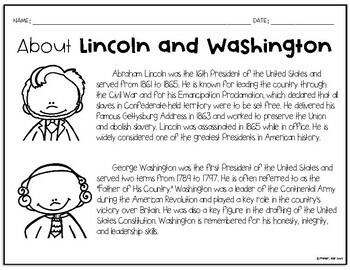 President's Day Graphic Organizer w/Washington and Lincoln bios