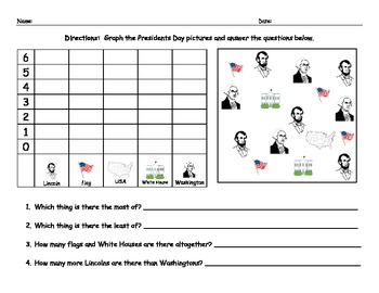 President's Day Graphing Worksheet Math