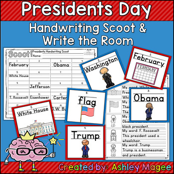 Presidents Day Handwriting Scoot and/or Write the Room
