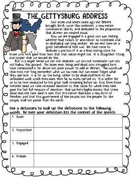 Presidents Day History Reading Comprehension Worksheet, Lincoln, Washington