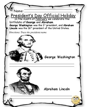 Presidents Day Holiday Activity
