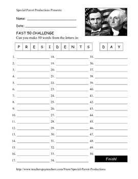 Presidents Day FREE - How Many Words Can You Make?