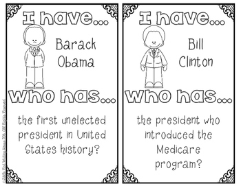 """Presidents' Day """"I Have, Who Has"""" {Game}"""