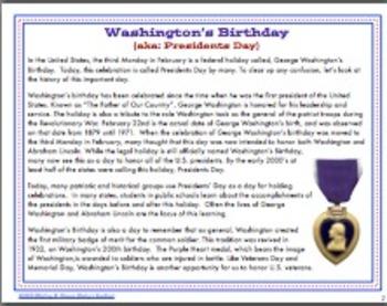 Presidents Day / Washington's Birthday Idea Catcher and Informational Text