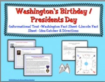 Presidents Day / Washington's Birthday Idea Catcher and Informational Text