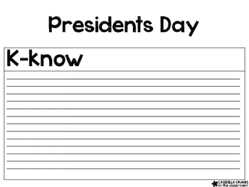Presidents Day Informational Writing Template KWL Chart Graphic ...