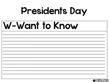 Presidents Day Informational Writing Template KWL Chart Graphic Organizer