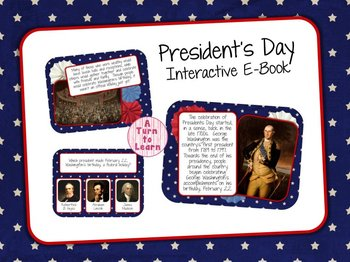 President's Day Interactive E-Book for Smartboard