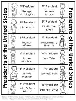 US Presidents Day Activities, US History Interactive Notebook