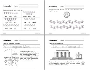 President's Day Language Arts & Math Unit for K-1st