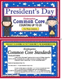 President's Day Kindergarten Common Core Math Activity Count to 20