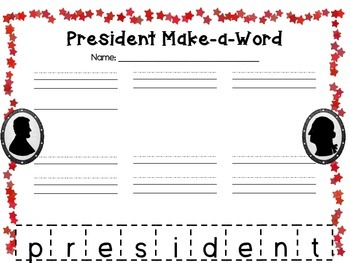 President's Day Language Arts Activities and Craft