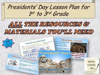 Presidents Day Lesson Plan for first to third graders