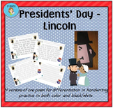 """Presidents' Day - Lincoln"" Handwriting Practice"