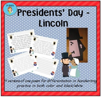 """""""Presidents' Day - Lincoln"""" Handwriting Practice"""