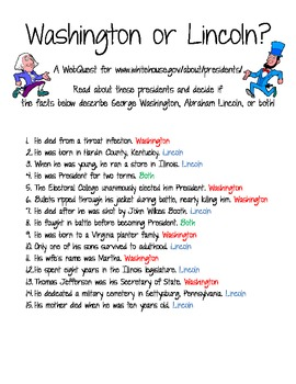 President's Day- Lincoln or Washington - WebQuest and Much More!