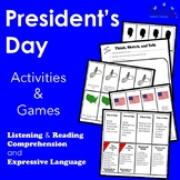 Presidents' Day Listening and Reading Comprehension and Language Activities