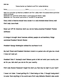 President's Day Literacy Center Workshop, Quotation Marks, Word Study