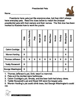 Presidents' Day Logic Puzzles and Bonus Word Search