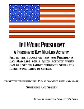 Presidents' Day Mad Libs