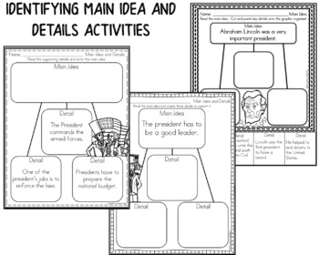 Presidents' Day - Main Idea and Details Activities