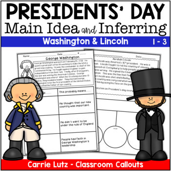 President's Day ~ Main Idea and Inferring Mini Passages with Graphic Organizers