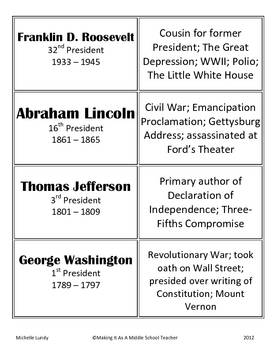 Presidents' Day Matching Cards