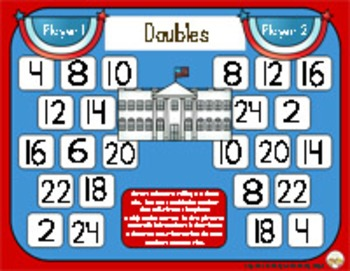 Presidents Day Math - A Doubles Strategy Addition Game - 3 Versions
