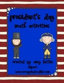 President's Day Math Activities - Common Core Standards