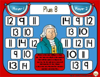Presidents Day Math - Adding Eight / Plus 8 Addition Strategy Game - 3 Versions