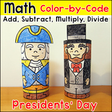 Presidents' Day Math Color by Code Activity: Abraham Lincoln, George Washington