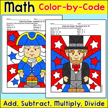 Presidents' Day Math Color by Number: George Washington, Abraham Lincoln