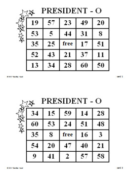 Presidents' Day Math Game for Middle Grades (PRESIDENT-O)