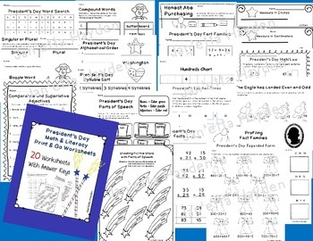President's Day Math & Literacy Print and Go Pack