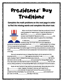 Presidents' Day Math Mystery Stories (Common Core Aligned!)