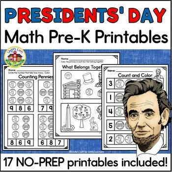 Presidents' Day Math Printables for Preschool