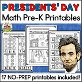 Presidents' Day Math Worksheets for Preschool