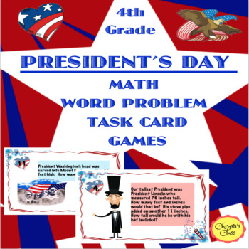 President's Day Measurement Math Word Problems with Task Cards and Games