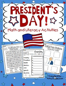 President's Day Math and Literacy Printables