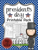 President's Day Math and Literacy Printable Pack