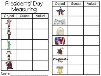 Presidents' Day Measuring Length-Kinder Math Station