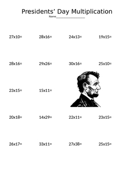 Presidents' Day Multiplication