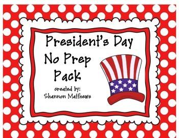 President's Day No Prep Printables