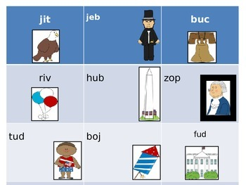 President's Day Nonsense Word Cards