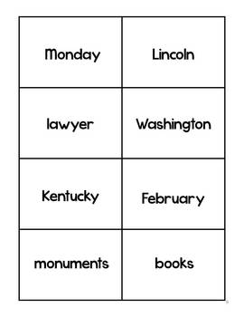 Presidents Day Noun Sort for Grades 1-2