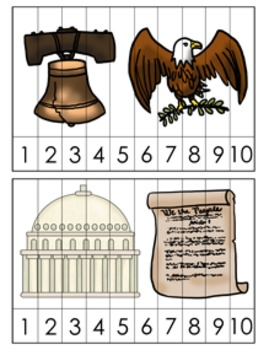 Presidents Day Number Counting Strip Puzzles - 5 Designs
