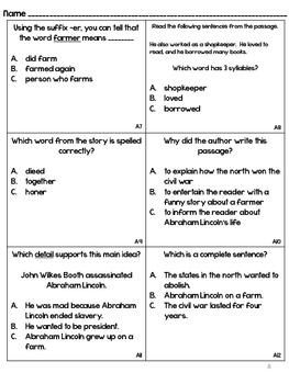 President's Day Pack- Fluency and Comprehension (Great for Test Prep!)