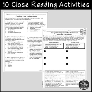 Presidents' Day Reading Comprehension Paired Passages